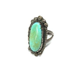 Vintage Genuine Turquoise Sterling Silver Ring